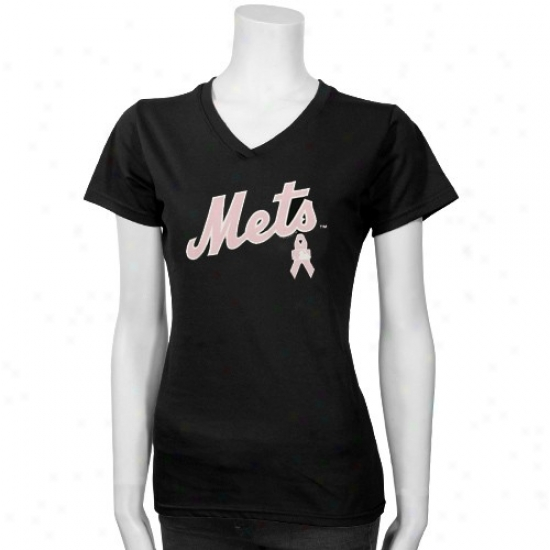 New York Mets T Shirt : New York Mets Black/pink Breast Cancer Research Logo T Shirt