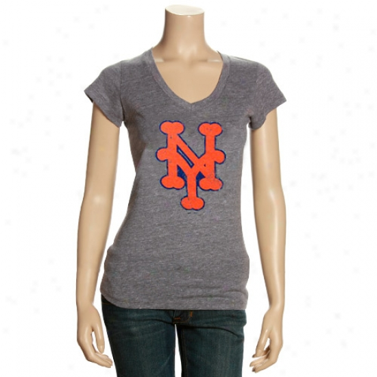 New York Mets T-shirt : New York Mets Ladies Ash Triblend V-neck Vintage T-shirt