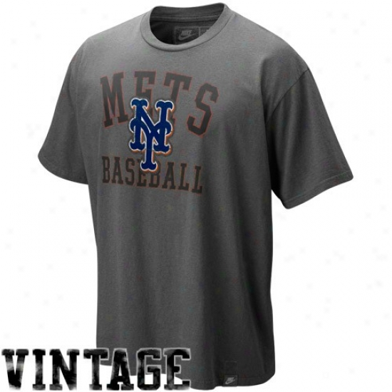 New York Mets T Shirt : Nike New York Mets Charcoal Southpaw Ortanic Vintage Washed T Shirt