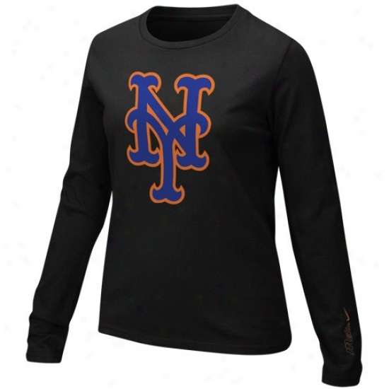 New York Mets T Shirt : Nikw New York Mets Ladies Black Large Logo Long Sleeve T Shirt