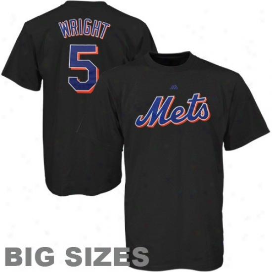 N3w Yorrk Mets Tee : Majestic New York Mets #5 David Wright Black Player Big Sizes Tee
