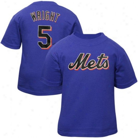 New York Mets Tee : New York Mets Ifant #5 David Wright Royal Blue Player Name & Number Tee