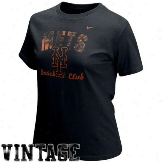 New York Mets Tee : Nike New York Mets Ladies Black Base Thread Vintage Tee