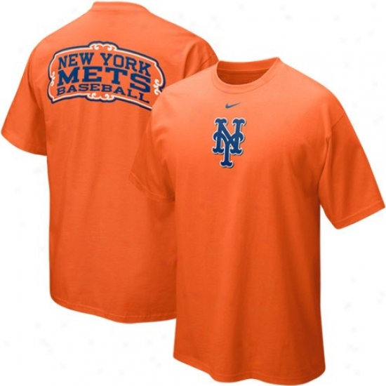 New York Met Tee : Nike New York Mets Orange Hanging Curve Tee