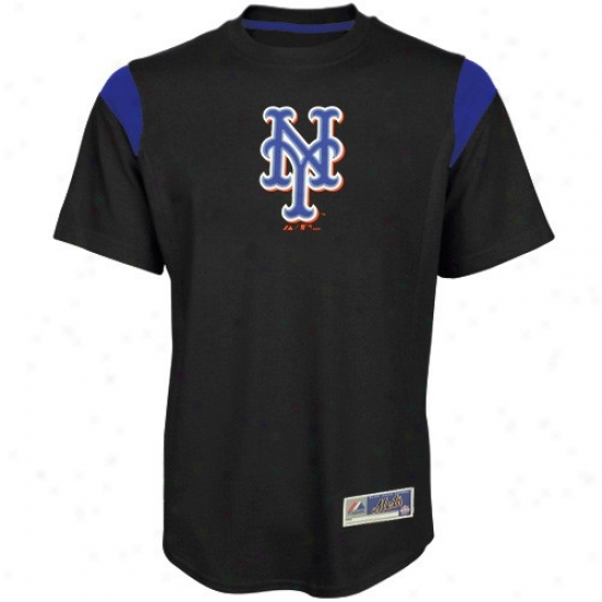 New York Mets Tees : Majestic New York Mets Black Team Phenom Fashio nTees