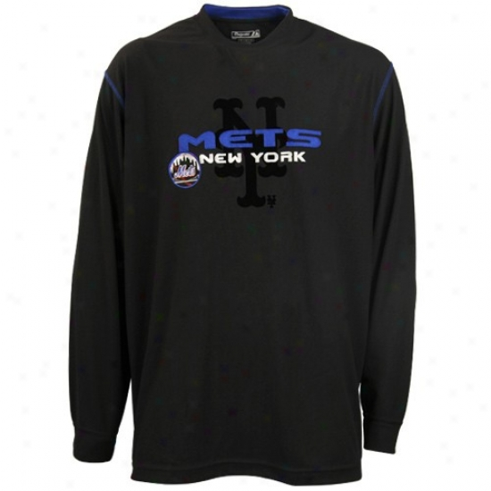 New York Mets Tees : Elevated New York Mets Black Heater Ii Long Sleeve Tees