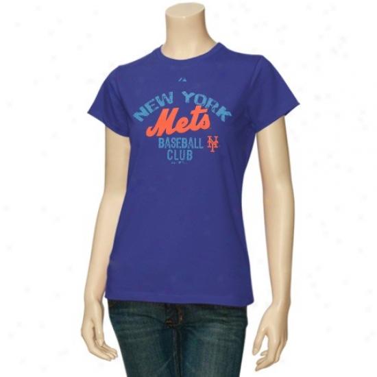New York Mets Tess : Majestic New York Mets Ladies Royal Blue Club Sunvurst Tees