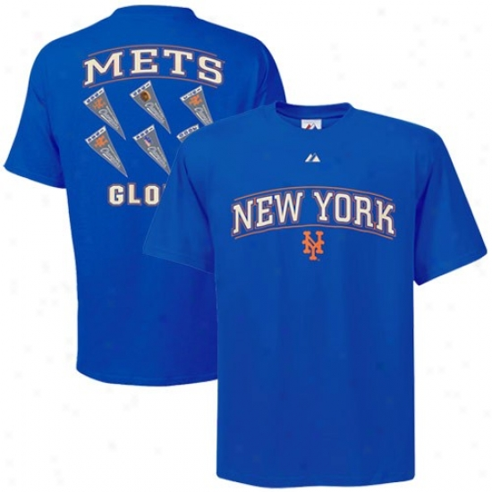 New York Mets Tshirt : Majestic New York Mets Royal Blue Cooperstown Winning Results Tshirt