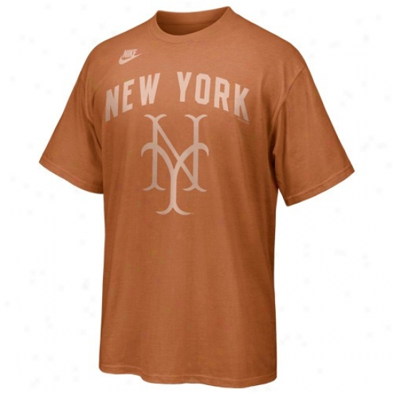New York Mets Tshirt : Nike New York Metz Orange Cooperstown Discharged Tshirt