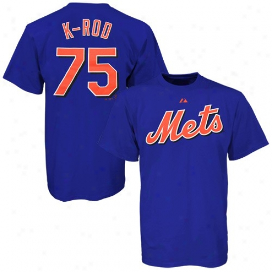 New York Mets Tshirts : Majestic New York Mets #75 Francisco Rodriguez Youth Royal Blue Player Tshirts
