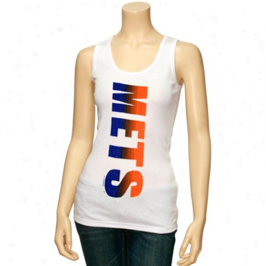 New York Mets Tshirts : New York Mets Ladies White Oversize Graphic Tank Top