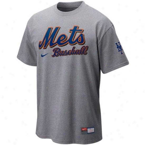 New York Mets Tshirts : Nike New York Mets Ash Mlb 2010 Practice Tshirts