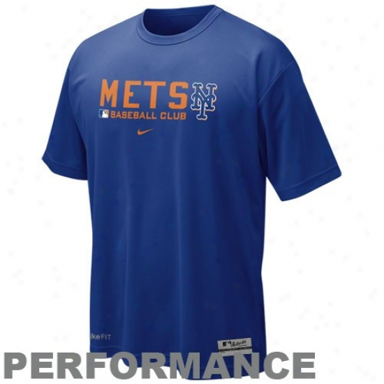 New York Mets Tshirts : Nike New York Mets Royal Blue Nikefit Team Issue Performance Training Top
