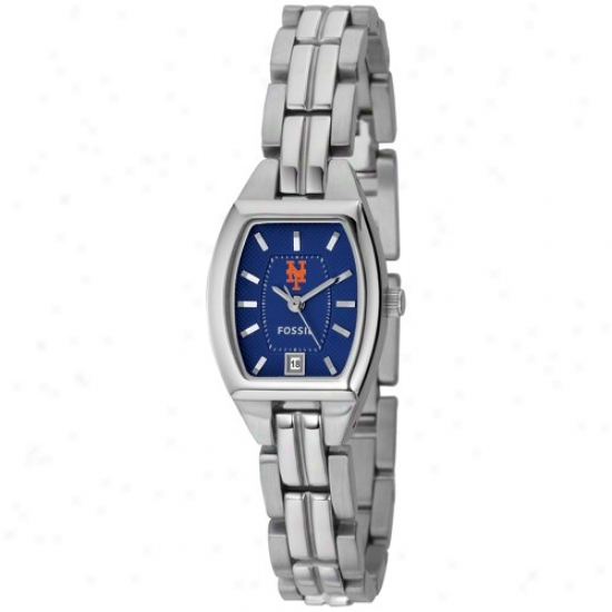 New York Mets Watch : Fossil New York Mets Ladies Stainless Steel Analog Cushion Watch