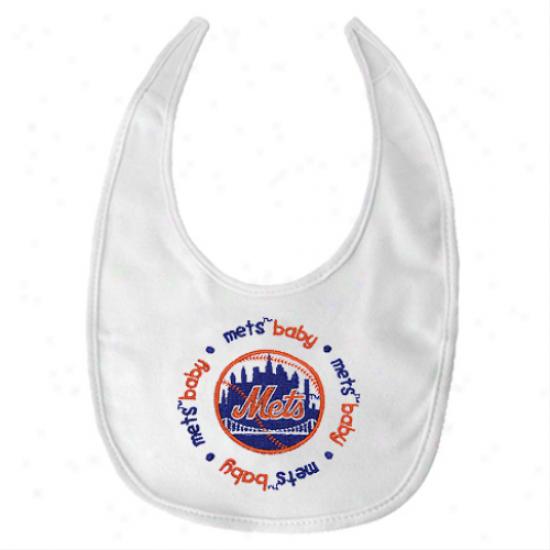 New York Mets White Baby Bib