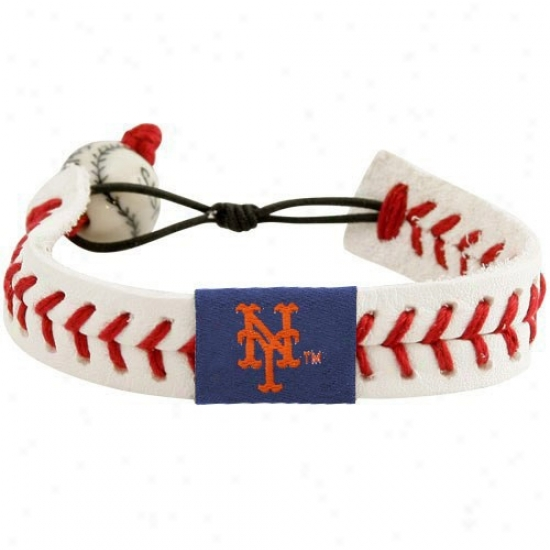 New York Mets White Leather Baseball Seam Bracelet