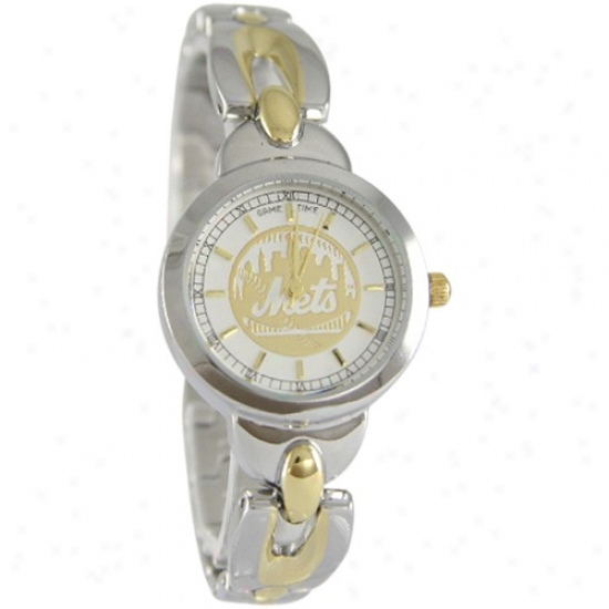 New York Mets Wrist Mark : New York Mets Ladies Stainless Steel Elegance Wrist Watch
