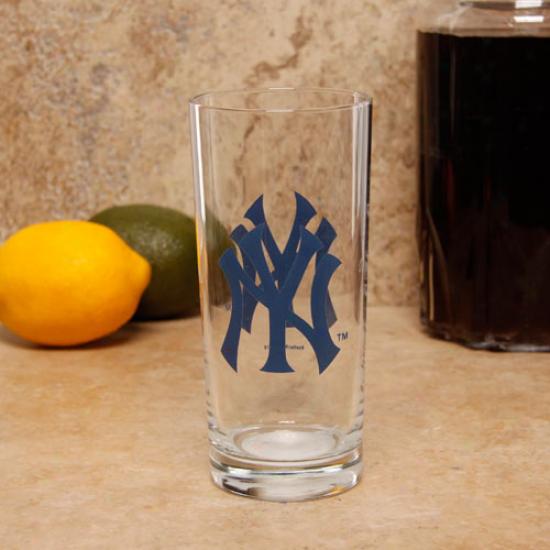 New York Yankees 15oz. Satin Etch Glass