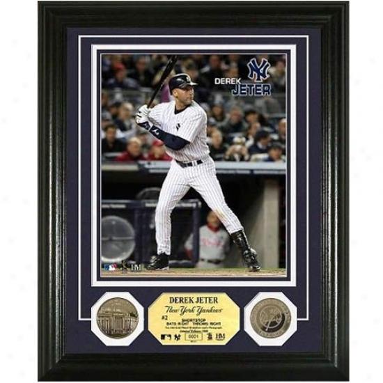 New York Yankees #2 Derek Jeter 24kt Gold Invent Photo Mint