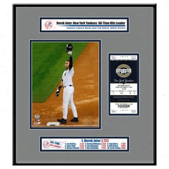 New York Yankees #2 Derek Jeter Hit Record Ticket Frame Jr.
