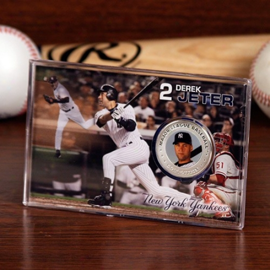 New York Yankees #2 Derek Jeter Silver Lamina Coin Card