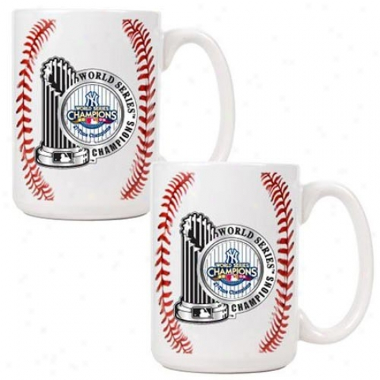 New York Yankees 2009 World Series Champions 2-pack White 15oz. Game Ball Pewter Logo Mug Set