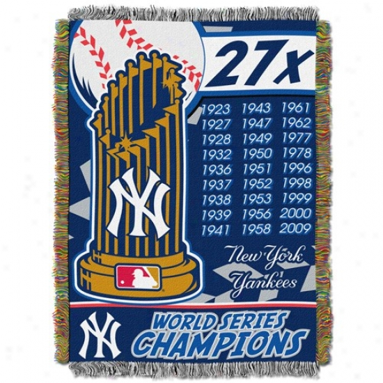 New York Yankeed 2009 World Series Champions Navy Blue 27-time Champs Tripls Layered Jacquard Blanket Fling