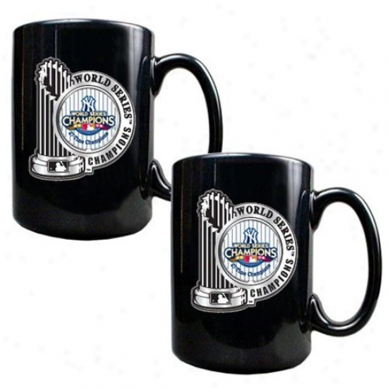 New York Yankees 2009 World Series Champions 2-pack Black 15oz. Pewter Logo Mug Set