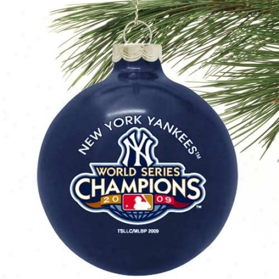 """Unaccustomed York Yankees 2009 World Series Champions Ships Blue 27-time Champs 3 1/4"""" Large Ornament"""