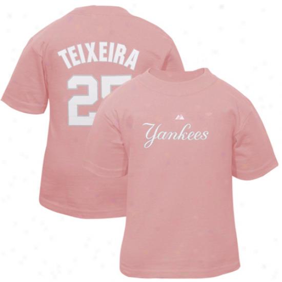 New York Yankees Apparel: Majestic New York Yankees #25 Mark Teixiera Toddler Girls Pink Player T-shirt