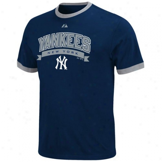 New York Yankees Apparel: Majestic New York Yankees Youth Navy Blue Club Classic Ringer T-qhirt