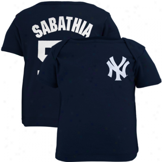 New York Yankees Apparel: Majestic New York Yankees  #52 Carsten Charles Sabathia Babe Navy Blue  Player T-shirt