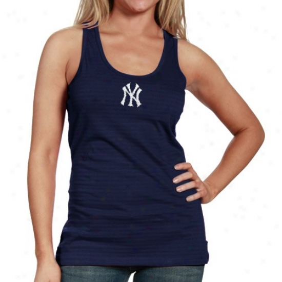 New York Yankees Attire: Antigua New York Yankees Ladies Navy Blue Showy Premium Cistern Top