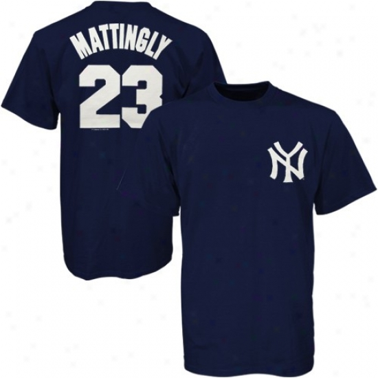 New York Yankees Attire: Majestic New York Yankees #23 Don Mattingly Navy Blue Players T-shirt