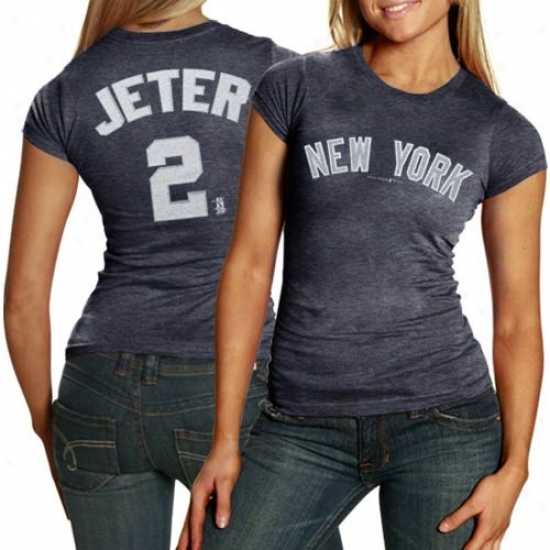 New York Yankees Attire: New York Yankees #2 Derek Jeter Ladies Nwvy Blue Glitter Triblend T-shirt