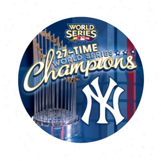 New York Yankees Caps : New York Yankees 2009 World Series Champions Navy Blue 27-time Champs Round Button