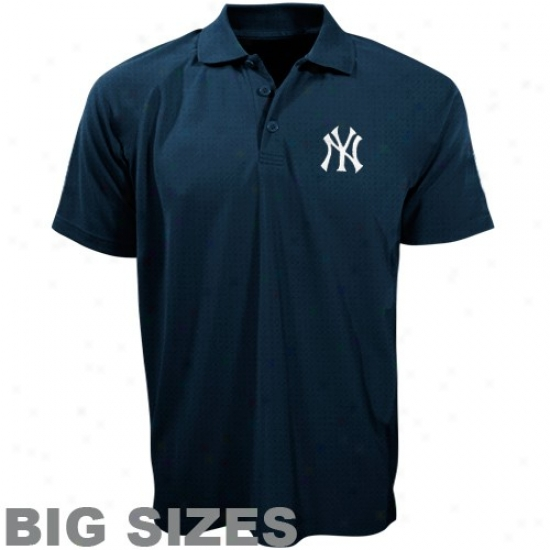 New York Yankees Clothing: Majesit New York Yankees Navy Blue Pebbles Big Sizes Polo