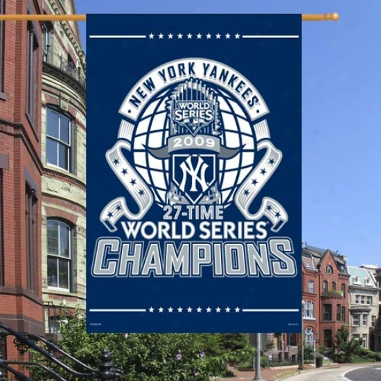 """new oYtk Yankees Flab : New York Yankees 2009 World Series Champions Navy Blue 27"""" X 37"""" Vertical Flag Flag"""