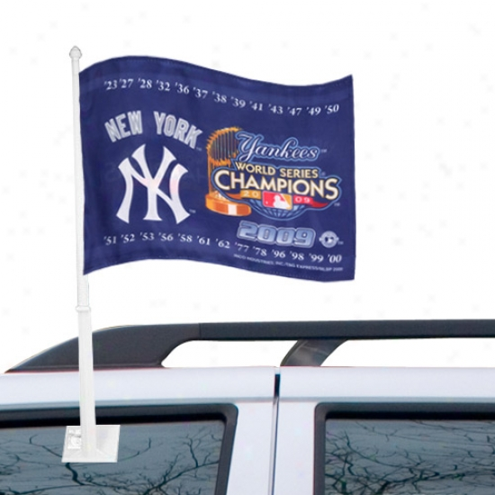 New York Yankees Flag : New York Yankees 2009 World Succession Champions Navy Blue Car Flag