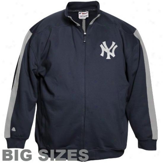 New York Yankees Fleece : Majestic New York Yankees Navy Blue Tracker Big Sizes Full Zip Jacket