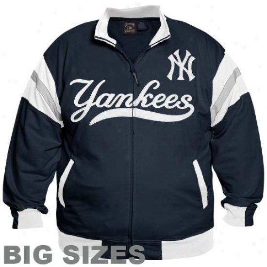 New York Yankees Fleece : Majestci New York Yankees Navy Blue Curveball Full Zip Big Sizes Jacket