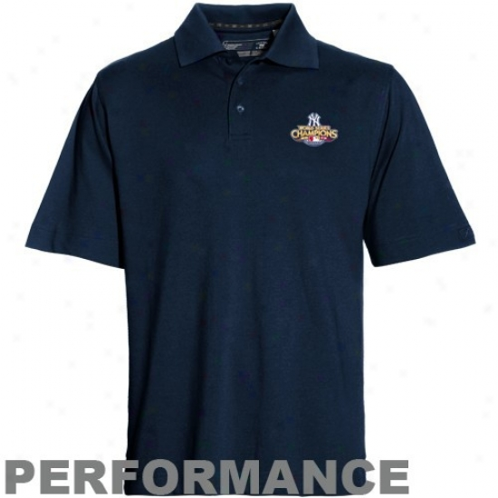 New York Yankees Golf Sirts : Cutter & Buck New York Yankees Navy Blue 2009 Earth Series Champions Drytec Championship Performance Golf Shirts