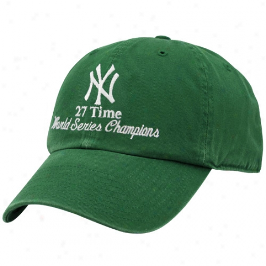 New York Yankees Hats : Twins '47 New York Yankees Kelly Green 2009 World Series Champions 27-time Champions Adjustable Slouch Hats