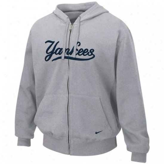 New York Yankees Hoodie : Nike New York Yankees Ash Tackle Twill Full Zip Hoodie