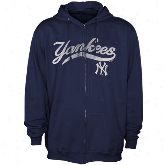 New York Yankees Hoodiew : Majestic New York Yankees Navy Blue Havoc Ful iZip Hoodies