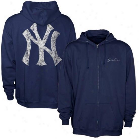 New York Yankees Hoody : Majestic New York Yankees Navy Blue Surface Idol Full Zip Hoody