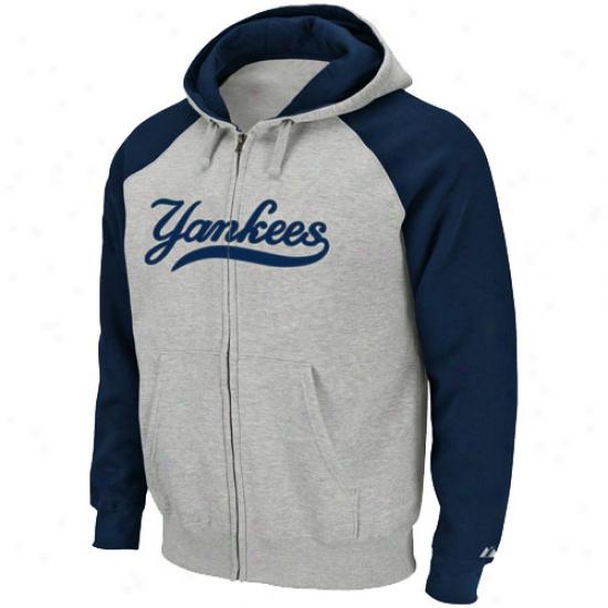 New York Yanke3s Hoodys : Majestic New York Yankees Navy Blue-ash Extra Innings Full Zip Hoodys