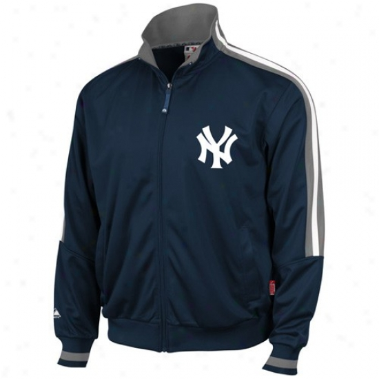 New York Yankees Jackets : Majestic New York Yankees Navy Blue Therma Base Performance Track Jackets