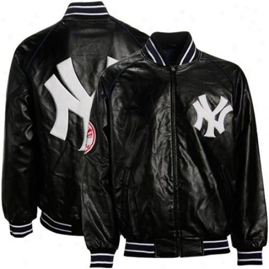 Nww York Yankees Jackets : New York Yankees Black Pleather Varsity Full Zip Jackets