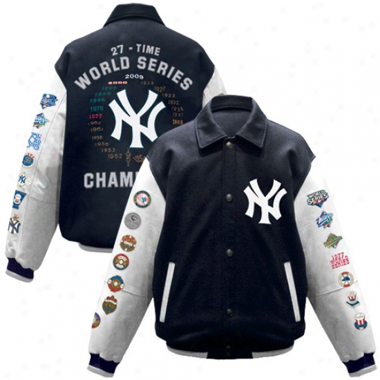 New York Yankees Jackets : New York Yankees Navy Melancholy 2009 World Series Champions Wool/leather Jackets